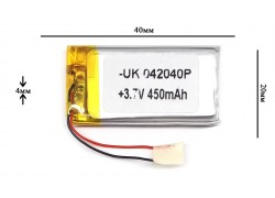 Аккумулятор для GPS, MP3   40\20\4 мм (3.7V) 400 mAh