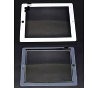 iPad 2 - тачскрин, сенсорное стекло + кнопка Home + скотч (белый)