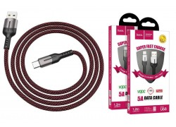 Кабель USB HOCO U68 5A Gusto flash charging data cable Type-C (черный) 1 метр