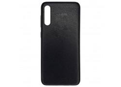 Резиновая накладка Samsung A70  (A705) имитация кожи (черная)