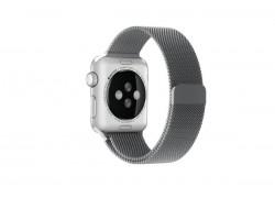 """Металлический магнитный браслет  """"Миланское плетение"""" для Apple Watch 42-44 мм цвет серый"""