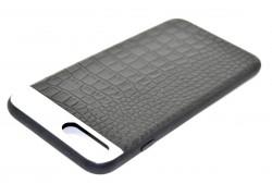 """Кожаная накладка iPhone 7 (4.7) """"Под крокодила"""" с металл. вставкой цвет черный"""