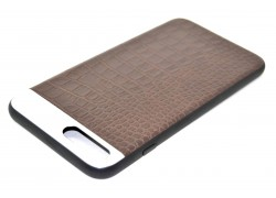 """Кожаная накладка iPhone 7 (4.7) """"Под крокодила"""" с металл. вставкой цвет коричневый"""