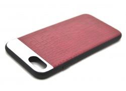 """Кожаная накладка iPhone 7 (4.7) """"Под крокодила"""" с металл. вставкой цвет красный"""