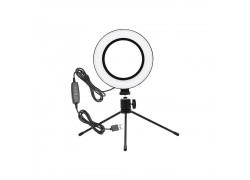 Кольцевая лампа настольная (16 см) для фото и видеосъемки (черная)  (без крепления телефона)