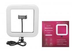 Кольцевая лампа напольная (28 см квадратная) для фото и видеосъемки черная (без треноги)