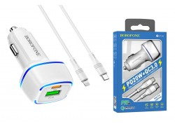 Автомобильное зарядное устройство USB + Type C BOROFONE BZ14A Mercury dual port PD 20W + QC3.0  кабель iPhone Lightning белый