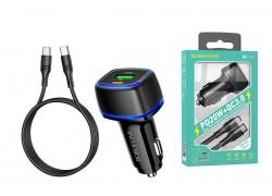 Автомобильное зарядное устройство USB + Type C BOROFONE BZ14A Mercury dual port PD 20W + QC3.0  кабель iPhone Lightning черный