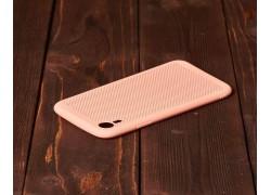 Силиконовая накладка iPhone XR оранжево-розовая с перфорацией