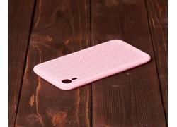 Силиконовая накладка iPhone XR розовая с перфорацией