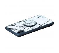 """Силиконовая накладка iPhone X с рисунком """"Природный камень"""" и держателем-подставкой"""