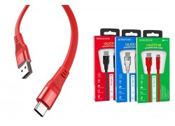 Кабель USB BOROFONE BU18 Crown Silicone Charging data Cable for Type-C (красный) 1 метр