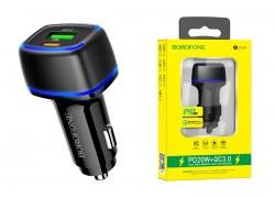 Автомобильное зарядное устройство USB + Type-C BOROFONE BZ14A Mercury dual port PD 20W + QC3.0 car charger черный