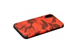 Кожаная накладка iPhone Х  с визитницей камуфляж красная