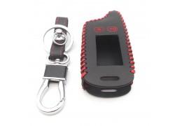 Чехол кожаный для брелка автосигнализации Tomahawk tw9020 черный с красной прострочкой