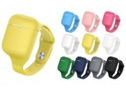 Чехол Soft-Touch с ремешком для гарнитуры вакуумной беспроводной AirPods цвет в ассортименте