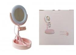 Кольцевая лампа настольная К-3 (16 см) для фото и видеосъемки с креплением телефона и зеркалом розовая