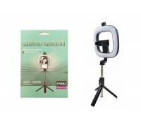 Кольцевая лампа настольная P40 (12 см) квадратная для фото и видеосъемки c треногой- палкой селфи
