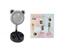 Кольцевая лампа настольная D3 (16 см) для фото и видеосъемки с креплением телефона и зеркалом черная