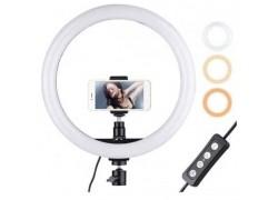 Кольцевая лампа напольная (30 см) для фото и видеосъемки QX300  (черная) с пультом управления (без треноги)