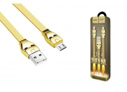 Кабель USB micro USB HOCO U14 Steel man micro charging cable (золотой) 1 метр