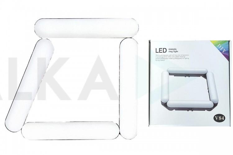 Кольцевая лампа напольная (20 см складная 4х секционная) V84 для фото и видеосъемки черная (без треноги)