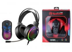 Комплект MARVO MH01BK: мышь игровая проводная + игровые наушники с микрофоном (чёрный)