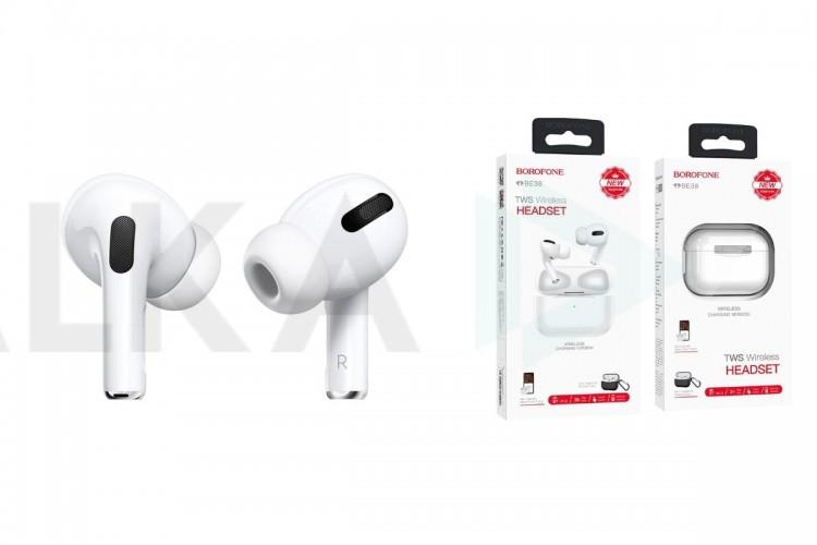 Bluetooth-наушники BE38  Original series TWS wireless headset  BOROFONE белые ( серия PRO в комплекте с чехлом)