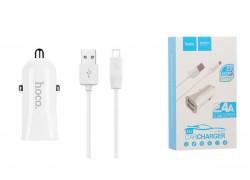 Автомобильное зарядное устройство 2USB HOCO Z12 + кабель micro USB белый