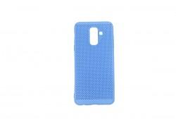 Силиконовая накладка Samsung A6 Plus (2018) синий с перфорацией