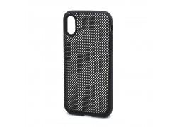 Силиконовая накладка iPhone XS Max черная с перфорацией