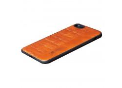 Кожаная накладка iPhone 7/8 (4.7)  с плетением светло-коричневая
