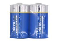 Батарея щелочная Mirex LR20 / D 1,5V  цена за 2 шт (2/12/96), shrink (23702-LR20-S2)