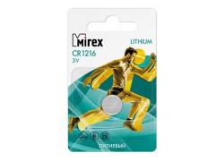 Батарейка литиевая Mirex CR1216 3V цена за 1 шт (1/60/360), ecopack (23702-CR1216-E1)