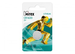 Батарейка литиевая Mirex CR1620 3V цена за 1 шт ecopack (23702-CR1620-E1)