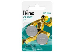 Батарейка литиевая Mirex CR2032 3V цена за 2 шт ecopack (23702-CR2032-E2)