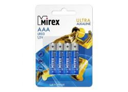 Батарея щелочная Mirex LR03 / AAA 1,5V  цена за 4 шт (4/48/960), блистер (23702-LR03-E4)