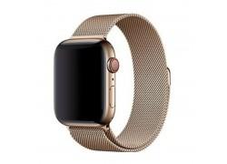 """Металлический магнитный браслет  """"Миланское плетение"""" для Apple Watch 42-44 мм цвет темное золото"""