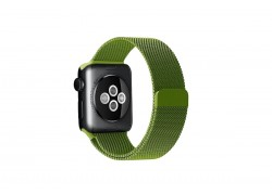 """Металлический магнитный браслет  """"Миланское плетение"""" для Apple Watch 42-44 мм цвет зеленый папоротник"""