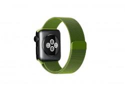 """Металлический магнитный браслет  """"Миланское плетение"""" для Apple Watch 38-40 мм цвет зеленый папоротк"""