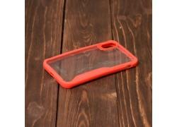Пластиковая накладка iPhone X IPaky прозрачная с красным бампером