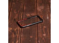 Пластиковая накладка iPhone X прозрачная с черно-красным бампером