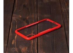 Пластиковая накладка iPhone X прозрачная с красным бампером