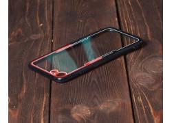 Пластиковая накладка iPhone 7+/8+ прозрачная с черно-красным бампером