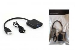 Конвертер HDMI (M) --> VGA (F) (кабель 15см) черный