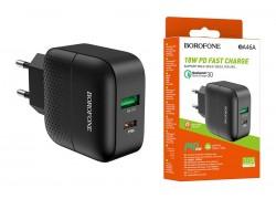 Сетевое зарядное устройство USB + USB-C BOROFONE BA46A Premium PD+ QC 3.0 черный