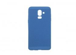 Силиконовая накладка Samsung J8 (2018) синяя с перфорацией