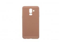 Силиконовая накладка Samsung J8 (2018) оранжево-розовая с перфорацией