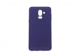 Силиконовая накладка Samsung J8 (2018) фиолетовая с перфорацией