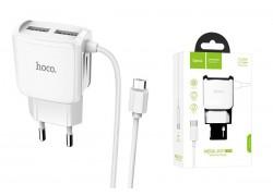 Сетевое зарядное устройство 2 USB 2400 mAh + кабель micro USB HOCO C59A белый Fast Charging